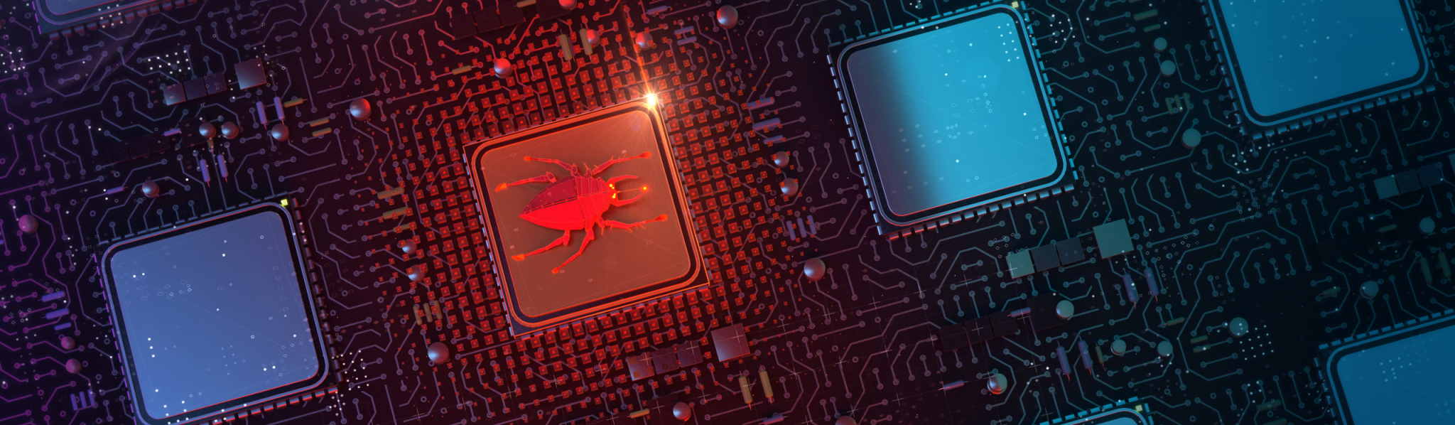 red glowing compiter bug on infected chip in cyberspace 3d redner. spyware, malware, virus trojan, keylogger, hacker attack illustration.
